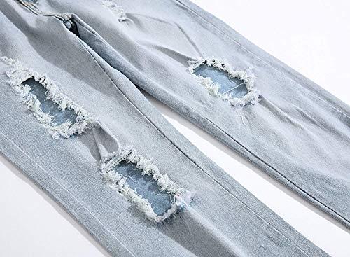 Pantaloni Da Strappi Jeans Casual Distrutti Elasticizzati Battercake In Moda A Denim Media Vita Comodo Con Uomo Blu x5XOCdCwq