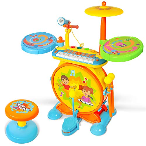 Toonit Jamz Girls & Boys Keyboard & Drum Set with Children's Musical Instruments: Kids Piano, Electronic Drum Set, Kid Microphone, Sing-Along Play, and Colorful Lights
