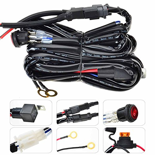 Kawell Wiring Harness with Switch(for LED Light Bar Off Road Power 40A Relay Fuse On-Off Switch (2 Lead 12Feet))