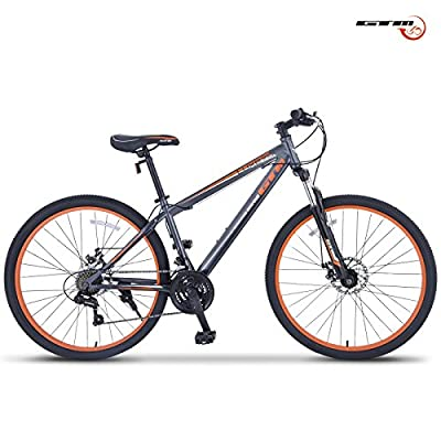 "GTM 27.5"" Shimano Hybrid 21 Speed Mountain Bike Bicycle Sports Grey & Orange"