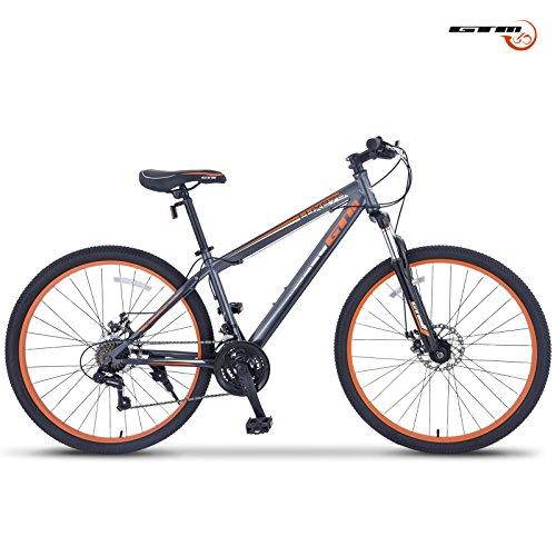 """GTM 27.5"""" 21 Speed Mountain Bike Shimano Hybrid Bicycle ,Grey & Orange"""