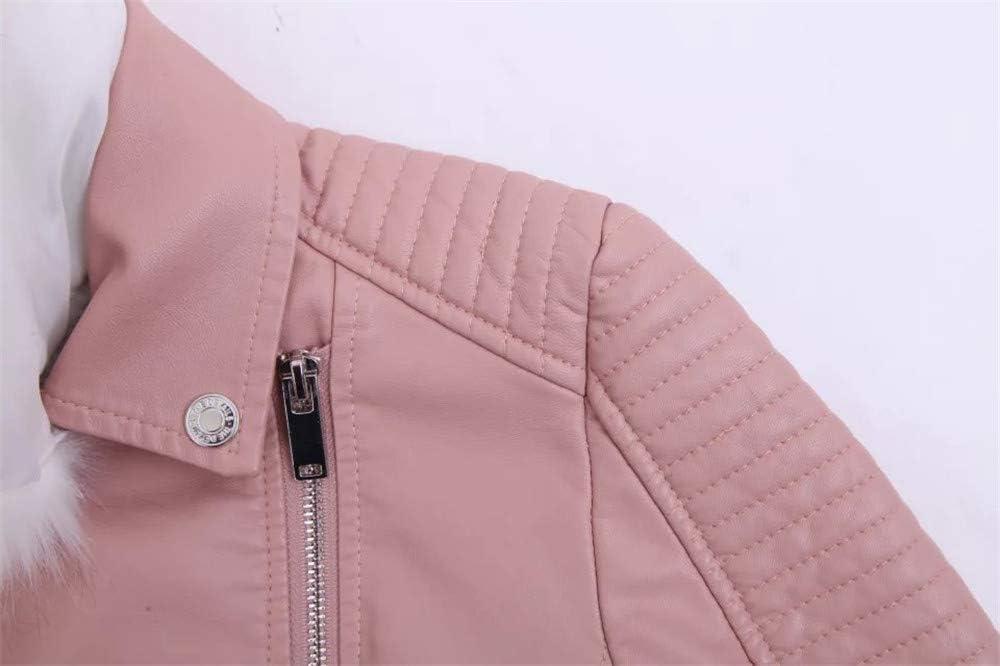 SANJIBAO Veste en Cuir pour Les Femmes, (4 Couleurs) Court épais Veste en Cuir, col de Fourrure de Plus Veste Polaire Pink