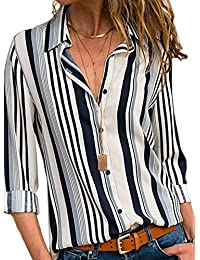 2a7b0c03fea Women s V Neck Stripes Roll up Sleeve Button Down Blouses Tops