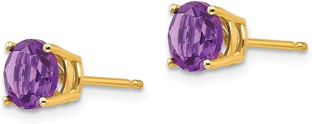 Mia Diamonds 14k Yellow Gold 6mm Amethyst Post Earrings