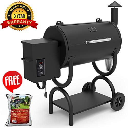 Z GRILLS 2019 Upgrade Model Wood Pellet Grill & Smoker, 7 in 1 BBQ Grill Auto Temperature Control, 500 sq inch Cooking Capacit, Included 1 Bag Pellet (Best Pellet Grill 2019)