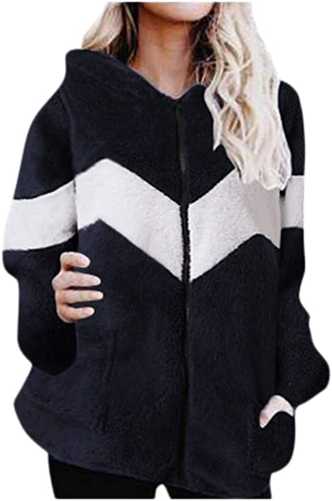 iQKA Womens Long Sleeve Patchwork Faux Fur Coat Hooded Sweatshirt Fluffy Outwear with Pocket