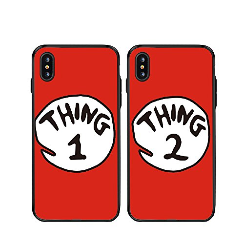 iPhone 10/iPhone X Case-TTOTT 2X BFF Case Cute Red Thing 1 2 Design Lovers Couple Best Friends Ultra-Slim Soft Silicone Bumper Frame Hard Back Cover Case for iPhone 10/iPhone X Plus 5.8