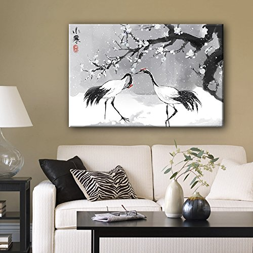 Chinese Ink Painting of Cranes in Snow with Plum Blossom in Winter