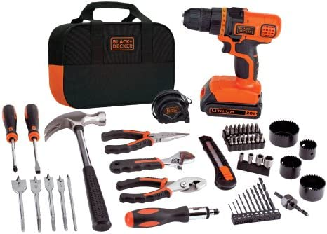 BLACK DECKER 20V MAX Drill Home Tool Kit, 68 Piece LDX120PK