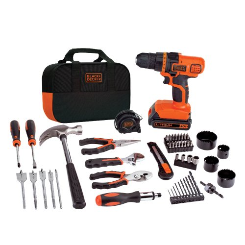 BLACK+DECKER 20V MAX Drill & Home Tool Kit, 68 Piece (LDX120PK), Black/Orange (And 20v Decker Drill Black)