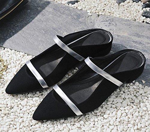 PBXP OL pompe punta punta cinghia decorazione tacco basso chunky edizione limitata scarpe casual femminili UE taglia 33-40 , black , 38