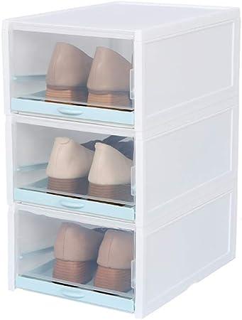 ALXDR Cajas De Zapatos De Plástico Transparente De 3 Piezas Caja De Almacenamiento De Zapatos Apilable Y Plegable, Caja Organizadora De Cajones Fácil De Montar,Blue,L: Amazon.es: Hogar