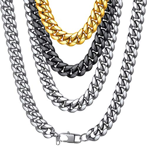 ChainsHouse Men Boys Chunky Necklace Fashion Jewelry Stainless Steel Thick Hip Hop Punk 14MM Wide Curb Cuban Chain Necklace - 22 inches ()