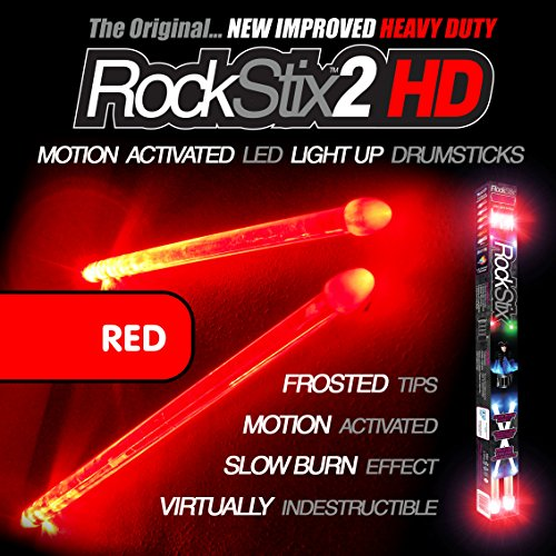 ROCKSTIX 2 HD RED, BRIGHT LED LIGHT UP DRUMSTICKS, with fade effect, Set your gig on fire! (RED ROCKSTIX) (Color Drumsticks)