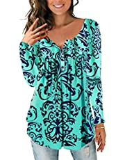 Soluo Women Floral Printed Swing Tunic Tops V Neck Loose Casual Long Sleeve Blouses Henley Flare Blouse Shirt