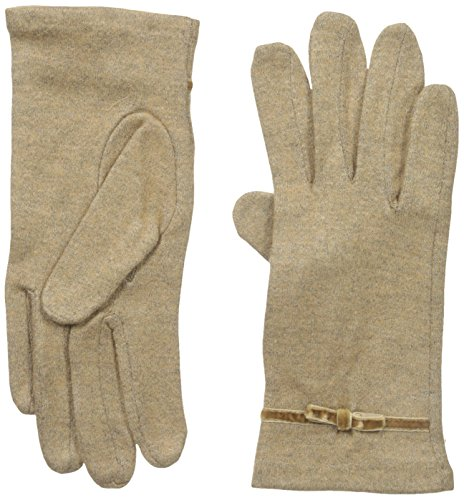Gloves International Women's Wool Blend Gloves with Bow, Camel, Small/Medium