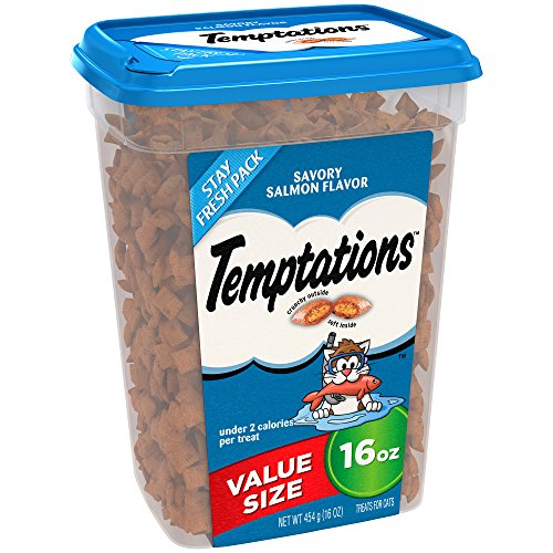 TEMPTATIONS Classic Treats for Cats Savory Salmon Flavor, 16 oz. Tub ()