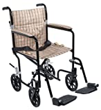 Drive Medical FW19DB Fly-Weight Transport Chair, 19 Inch, Tan Plaid