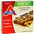 4 Pack of Atkins Advantage Bar Chocolate Chip Granola - High Protein - Low Calories - 5 Bars