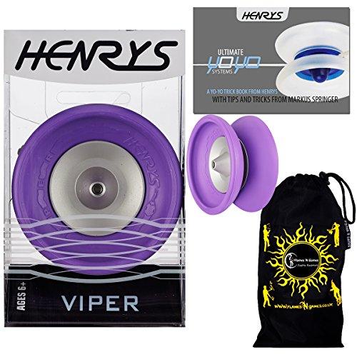 Henrys VIPER YoYo (Purple) Professional Ball Bearing YoYo +Instructional Booklet of Tricks & Travel Bag! Pro YoYos For Kids and Adults! by Henrys YoYo's