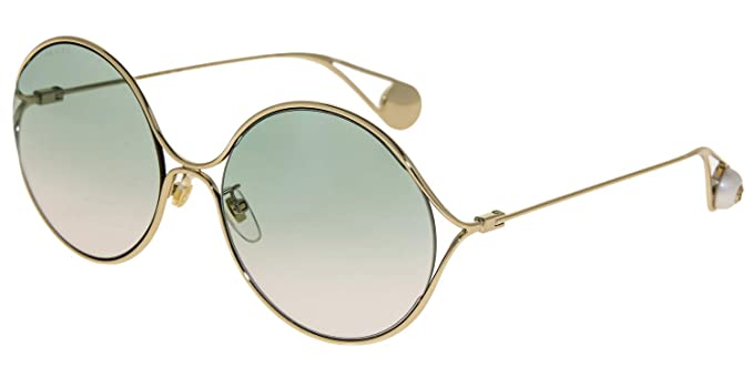 e20fbf6baf Image Unavailable. Image not available for. Color  GUCCI Sensual Romantic 0253  Gold Pearl Round Forked Metal Sunglasses