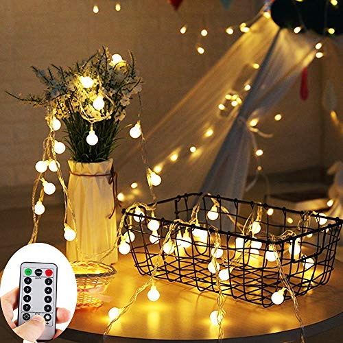 ZOUTOG Battery Operated String Lights, 33ft/10m 100 LED Bulb Warm White Globe String Lights with Remote Controller, Decorative Timer Fairy Light for Christmas/Wedding/Party Indoor and Outdoor ()