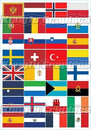 America South North Flag Collection 3M Graphics Vinyl Car Decal Sticker Decor