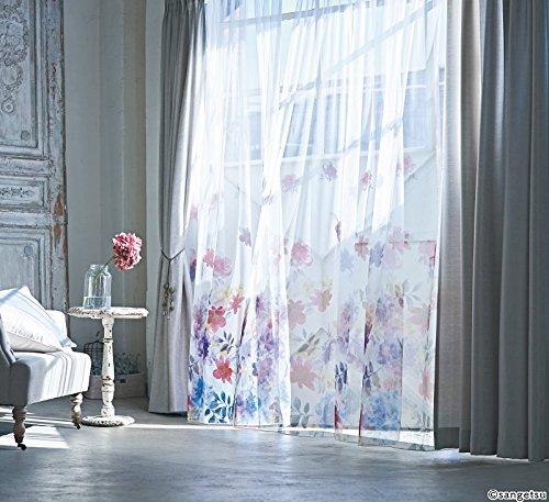 サンゲツ シアーカーテンの裾部分に華やかな花柄をプリント カーテン2倍ヒダ SC3711 幅:200cm ×丈:160cm (2枚組)オーダーカーテン   B07848NW8Z