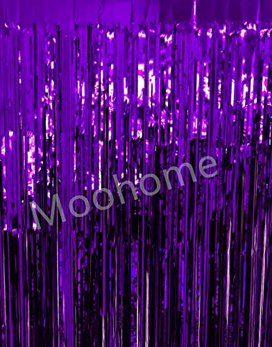 Moohome 2 Pack 3ft x 8ft Purple Foil Fringe Curtains Backdrop Door Window Curtain Party Decoration ()