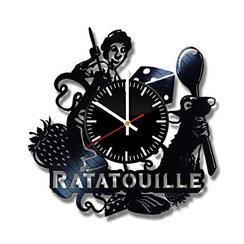 - Ratatouille Vinyl Clock - Ratatouille Disney Movie Vinyl Records Wall Art Room Decor Handmade Decoration Party Supplies Theme - Best Original Present Gift Idea - Vintage and Modern Style