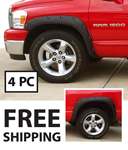 Premium Fender Flares for 2002-2008 Dodge Ram 1500; 2003-2009 Dodge Ram 2500 3500 (Fit Fleetside Models) | Fine-Textured Matte Black Pocket Bolt-Riveted Style 4pc ()