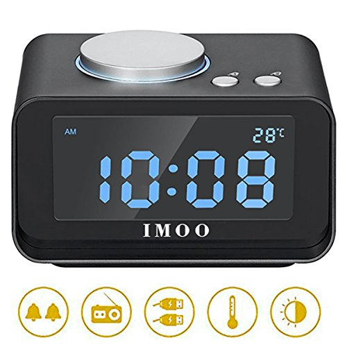 Dimmer Wide 1 (IMOO All-in-one Electronic Alarm Clock with 4 Dimmer, Dual USB Charing, FM radio,Indoor Thermometer Fuction, Battery Backup,Large LCD Display)