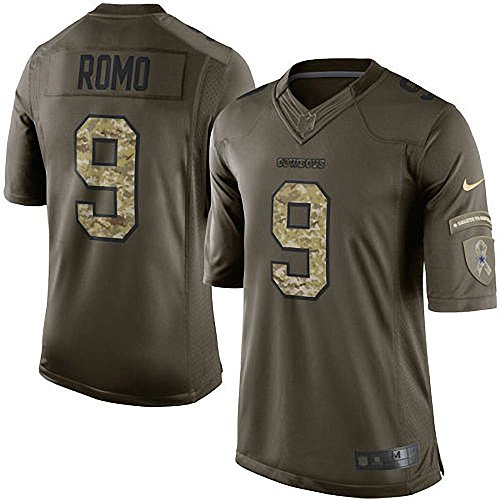 Tony Romo Back Jersey (Nike Tony Romo Dallas Cowboys Green Salute To Service Limited Jersey (X-LARGE))