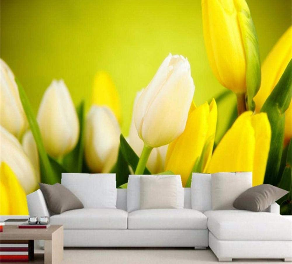 Amazon Com 3d Wallpaper Beautiful Flowers Yellow Tulips Photo Murals Living Room Dining Room Modern Simple Decor Wall Painting Papel Mural 350cmx280cm Home Improvement