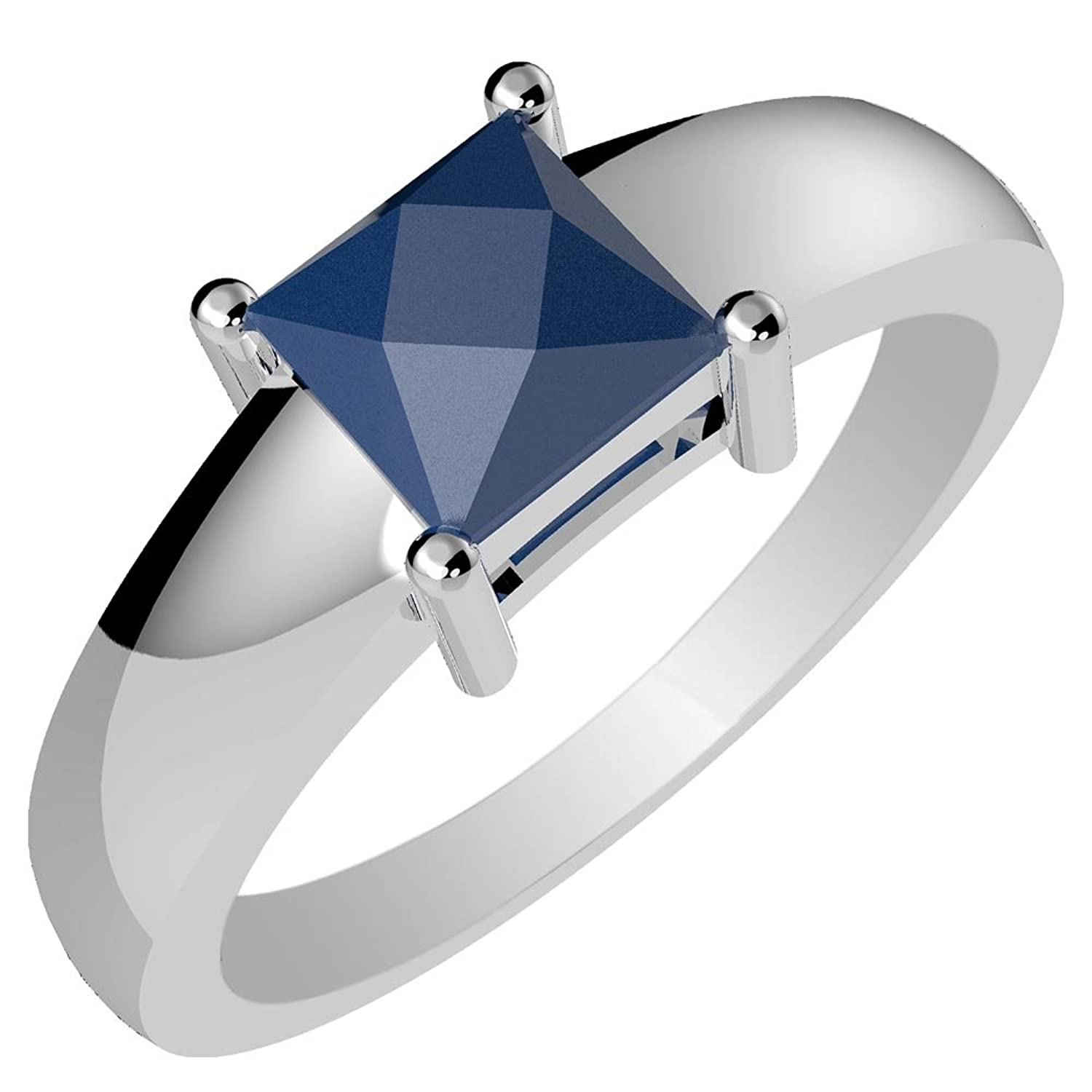 0.85ctw,Genuine Sapphire 5x5mm Square & Solid .925 Sterling Silver Ring (Size-7)