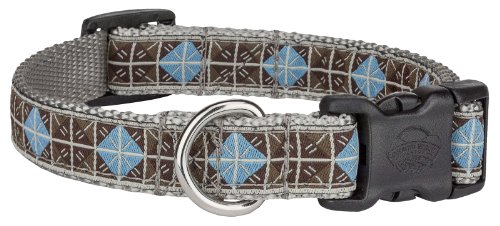 Country Brook Design Deluxe Blue & Brown Diamond Woven Ribbon on Silver Dog Collar Limited Edition - Medium