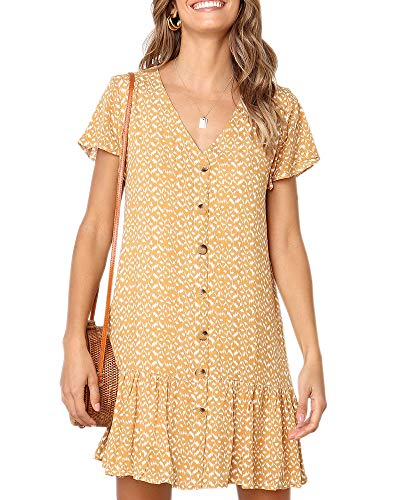 - Imysty Womens Polka Dot V Neck Button Down Ruffles Loose Mini Short T-Shirt Dress (X-Large, Yellow)