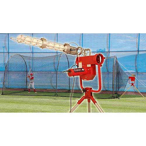 (Heater Sports Pro Breaking Ball Baseball Pitching Machine With Auto Ball Feeder & Xtender 24' L x 12' W x 12' H' Batting)