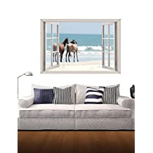 YTTX- 3D Wall Stickers Wall Decals, Sea and Horses Decor Vinyl Wall Stickers , l