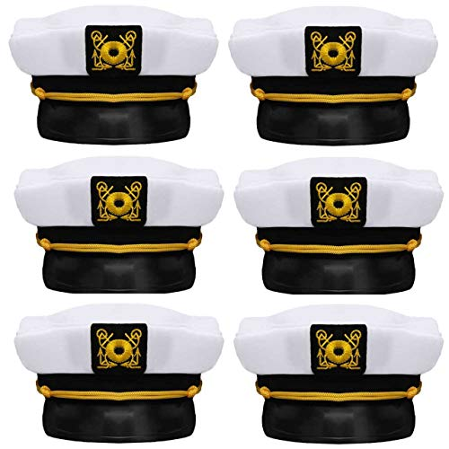 Bottles N Bags Nautical Captain White Sailor Hat (6 Pack) Captain's Hats are A Great Family Cruise Accessory for Men, Women, Teens, Kids ● Black & White Yacht Hat Set for Parties ()