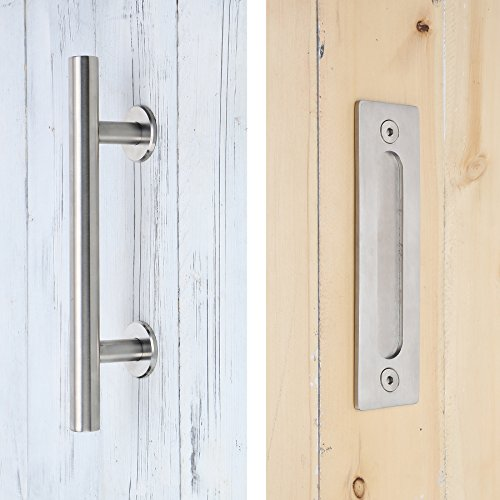 SMARTSTANDARD SHH0801STAINLESS Heavy Duty Large Rustic Flush and Pull Barn Door Handle, 12