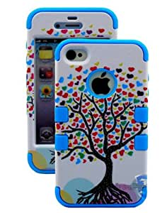 Ezydigital CBCarryberry Tree Of Love Series (3 Piece Protective) Hard and Soft Case for the iPhone 4/4S (4G) 4th Generation