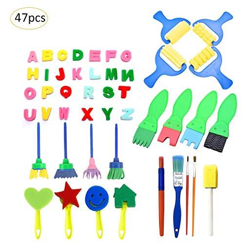 47PCS スポンジ絵具セット 子供の落書き絵に 子供おもちゃ 絵を描くおもちゃ 耐久性あり 小学校/幼稚園/自宅用 子供知育おもちゃ 絵画ツール