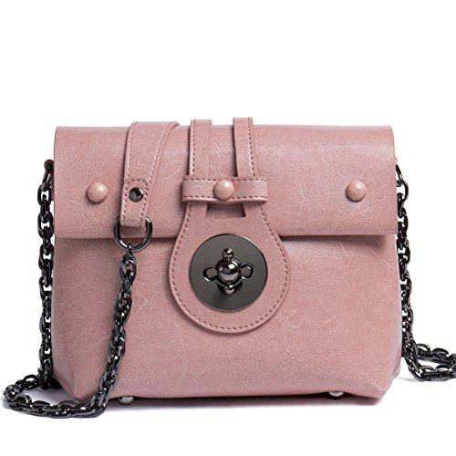 Zgjq Chain Bag Messenger Bag Woman Bag Bag Simple Fashion Leather Handbag Fashion Bag Pink