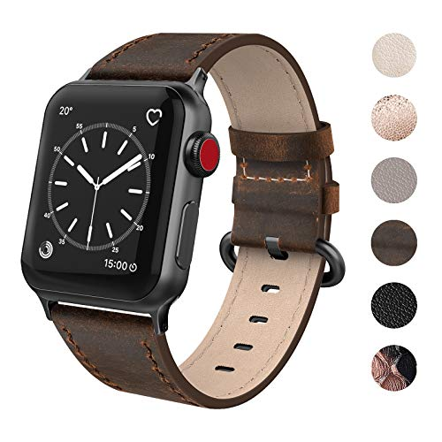 (SWEES Leather Band Compatible for iWatch 38mm 40mm, Genuine Leather Vintage Replacement Strap Compatible iWatch Series 4, Series 3, Series 2, Series 1, Sports & Edition Women, Retro Walnut)
