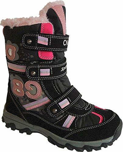 Mädchen Boots Kinder Winter Stiefel Warmfutter Gr.25 - 36 Art.-Nr.5003/04 schwarz