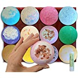 12 Extra Large 5 oz Vegan Bath Bombs, w/Free Lip Balm, Individually Wrapped Gift Set Ideas For Women, Mom, Girls, Teens, Her, Organic Coconut Oil, Cruelty Free, PABA Free, Handmade in the USA