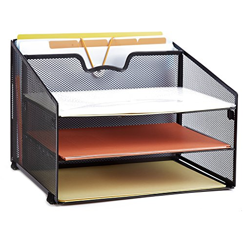 ProAid Mesh Office Desktop Accessories Organizer, Desk File Organizer with 3 Paper Trays and 1 Vertical Upright Compartment, Black by ProAid
