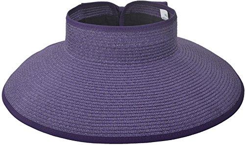 (Women Summer Roll Up Packable Wide Brim Sun Visor Straw Hat Purple)