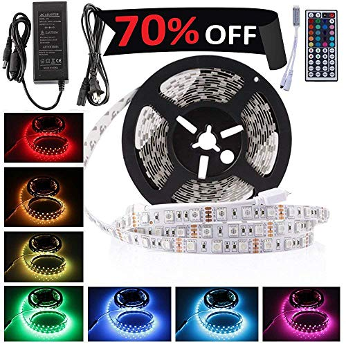 LEDMO 5050 RGB LED Strip Kit with 300-Piece 12V DC LEDs, Remote Control, Power Supply and Ribbon - 16.4 Feet (5 Meters) by LEDMO